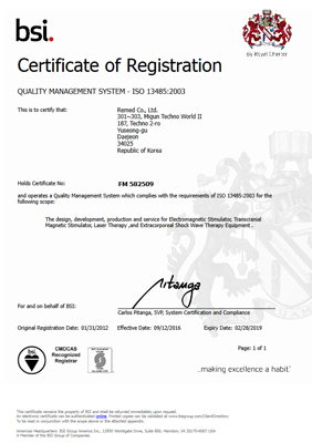 Certificate of Registration Quality Management System ISO 13485-2003